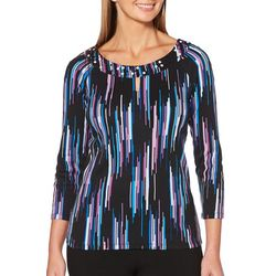 Rafaella Petite Pearl Embellished Neck Graphic Stripe Top