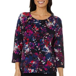 Rafaella Petite Floral Split Bead Neck Top