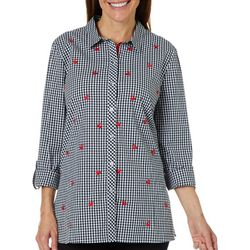 Rafaella Petite Embroidered Cherry Gingham Top