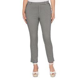 Rafaella Petite Gingham Print Skinny Fit Pull On Pants