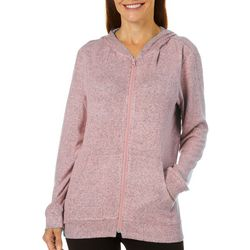 Coral Bay Energy Petite Solid Heather Hooded Jacket