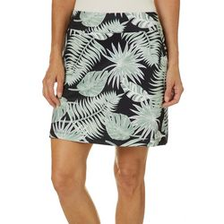 Coral Bay Energy Petite Tropical Palm Leaf Print Skort