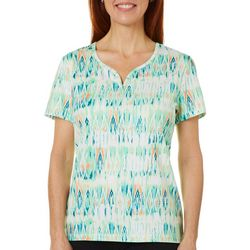 Coral Bay Energy Petite Ikat V-Neck Short Sleeve Top