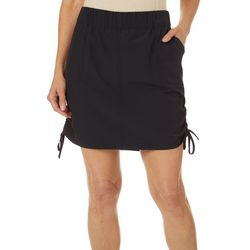 Petite Solid Ruched Side Skort