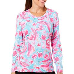 Coral Bay Energy Petite Island Floral Print Long Sleeve Top