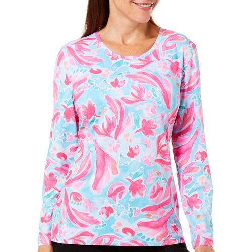 0e7d99feb6886 Coral Bay Energy Petite Island Floral Print Long Sleeve Top