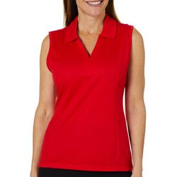 Coral Bay Energy Petite Sleeveless Solid Polo Shirt