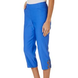 Coral Bay Petite Millennium Stretch Lattice Hem Capris