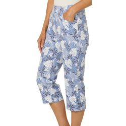 Coral Bay Petite Tropical Palm Print Pull On Capris