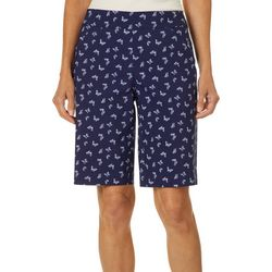 Coral Bay Petite Butterfly Print Pull On Bermuda Shorts