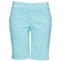 Coral Bay Petite Sailboat Print Pull On Bermuda Shorts