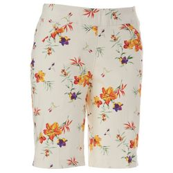Coral Bay Petite Floral Print Pull On Bermuda Shorts
