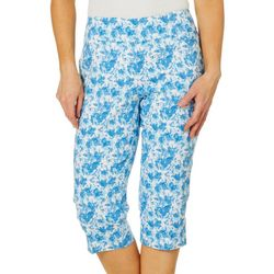 Coral Bay Petite Floral Bouquet Pull On Capris