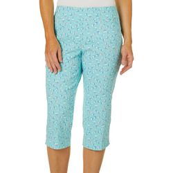 Coral Bay Petite Sailboat Print Pull On Capris