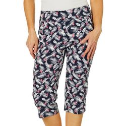 Coral Bay Petite Flamingo Palm Leaf Pull On Capris