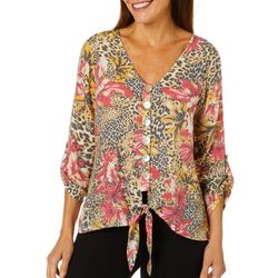 Coral Bay Petite Tropical Animal Print Tie Front Top