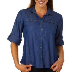 Coral Bay Petite Denim Knit To Fit Button Down Top