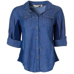 Petite Denim Knit To Fit Button Down Top