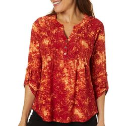Coral Bay Petites Pleated Floral Button Placket Top