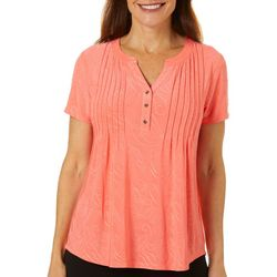 Coral Bay Petite Pleated Solid Button Placket Top