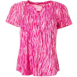 Coral Bay Womens Pleated Animal Print Button Placket Top