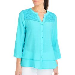 NY Collection Petite Solid Lace Yoke Top