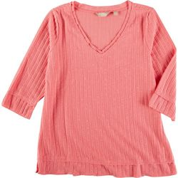 Coral Bay Petite Solid V-Neck 3/4 Sleeve Top