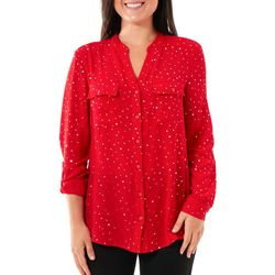 Coral Bay Petite Polka Dot Print Button Down Top