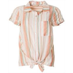 Coral Bay Petite Striped Linen Button Down Tie Front Top