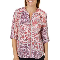 Coral Bay Petite Floral Paisley Roll Tab Sleeve Top