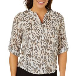 Coral Bay Petite Diamond Print Roll Tab Henley Top