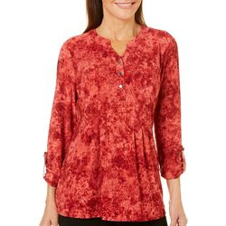 Coral Bay Petite Floral Pleated Button Placket Top