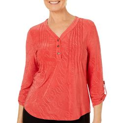 Coral Bay Petite Textured Henley Roll Tab Top