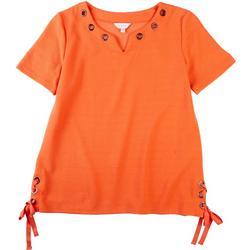 Petite Grommeted Tie Knit Short Sleeve Shirt
