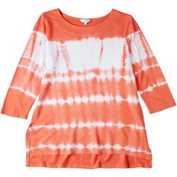 Coral Bay Petite Tie Dye 3/4 Sleeve Top
