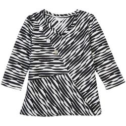 Coral Bay Petite Striped V-Neck Textured Top