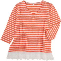 Coral Bay Petite Lace Hemline Striped 3/4 Top