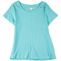Coral Bay Petite Stripe Textured Short Sleeve Top