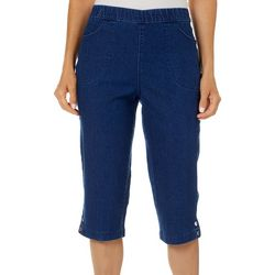Coral Bay Petite Denim Snap Hem Capris