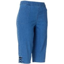 Womens Denim Lattice Detail Capris