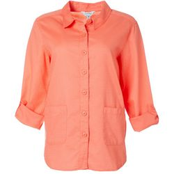 Coral Bay Energy Petite Solid Waffle Knit Button Down Top