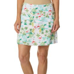 Coral Bay Energy Womens Tropical Flamingo Print Skort