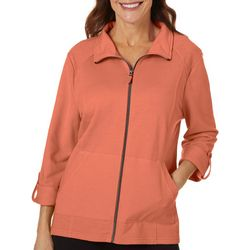 Energy Petite Solid Terry Zip Up Jacket