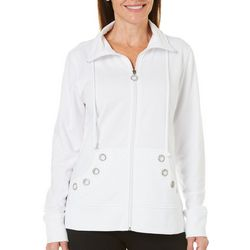 Coral Bay Womens Petite Embellished Mock Neck Jacket