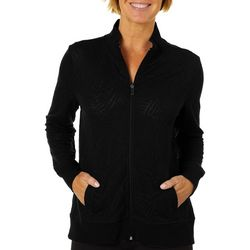 Coral Bay Womens Plus Palm Burnout Zip Jacket