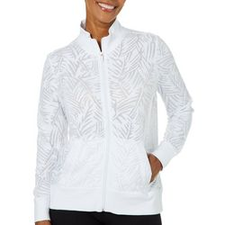 Coral Bay Petite Palm Burnout Zip Jacket