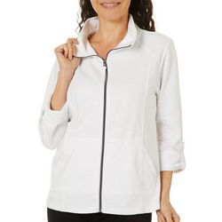 Coral Bay Petite Womens Solid Zip Up Jacket