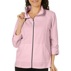 Coral Bay Petite Solid Zip Up Jacket