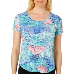 Coral Bay Petite Tropical Conch Shell Burnout Top