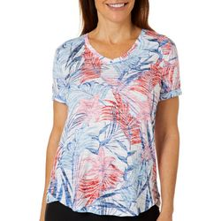 Coral Bay Petite Tropical Palm Print Burnout V-Neck Top